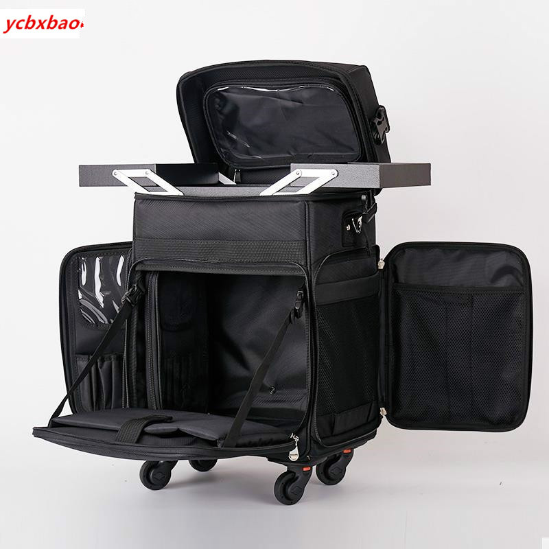 Wheels Spinner Cosmetic-Case Rolling-Luggage Trolley Nail-Makeup Professional Women Tattoo title=