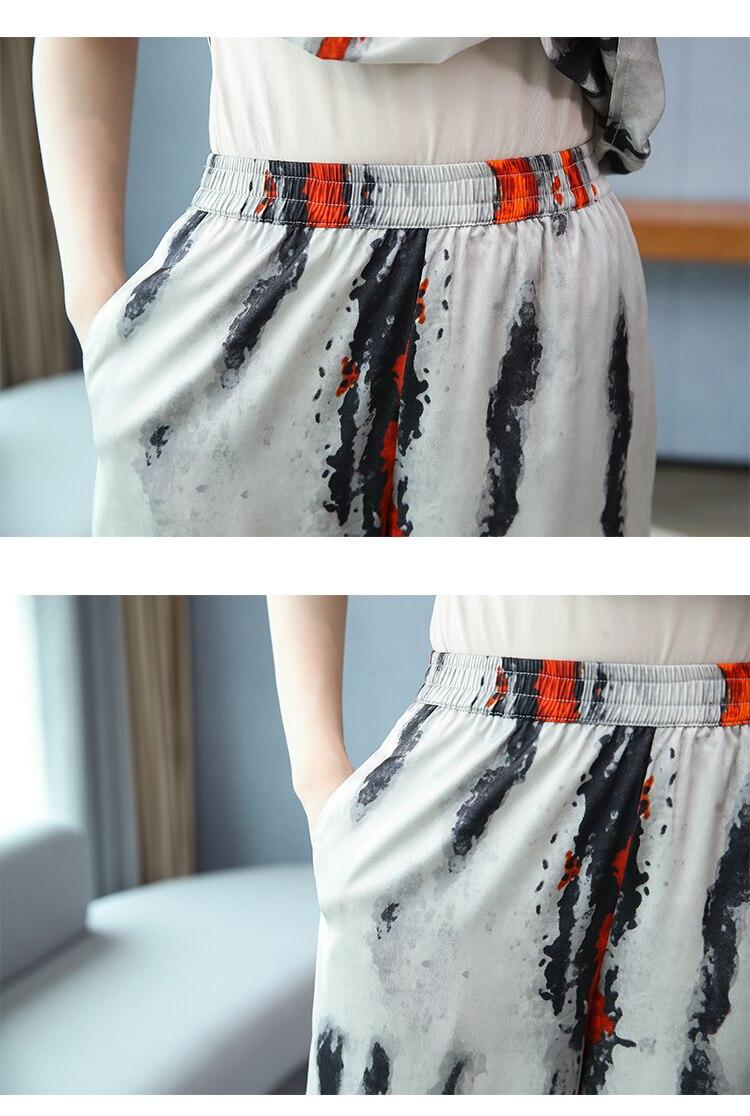 Vintage Women Two Piece Outfits Summer Wide Leg Pants Middle Aged Womens Matching Set Loose Survetement Femme Woman Suit