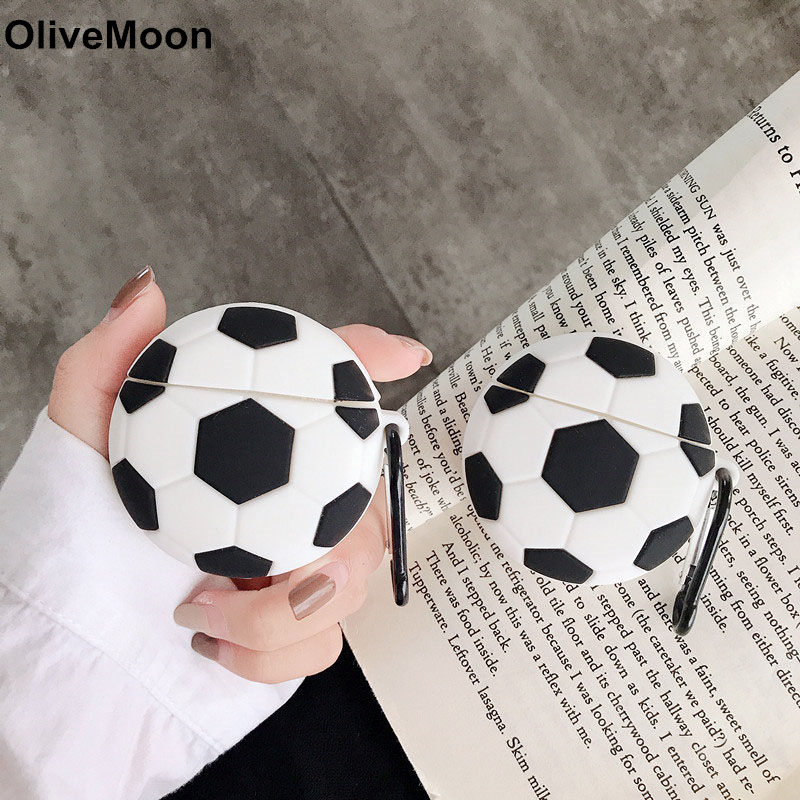 3D Cute Football Earphone Case For Airpods 1 2 Case Silicone Bluetooth Headphone Cover Airpods 1 2 Charging Box