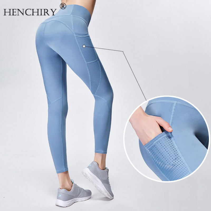 HENCHIRY Brand High Quality Pocket Female Hollow Stitching Hip Lifting Tight Sports Running Fitness Pants Leggins Fitness Pants