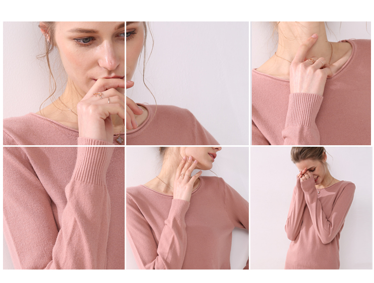 Women knitting sweater long sleeves curled O-neck collar female Short Casual Solid fashion thin pullover Ladies winter sweaters 4