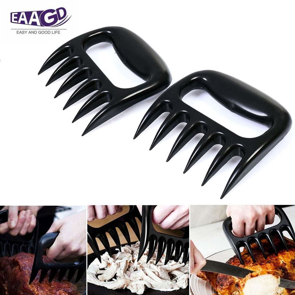 colorful Box Package 1 Pair Bear Claw Meat Shredder Barbecue Meat Claw Pulled Pork Shredder Claws Strongest Bbq Meat Forks Claws Shredding Handling Carving Food