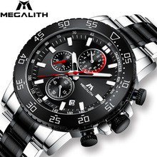 MEGALITH Wristwatch Chronograph Clock Band Quartz Stainless-Steel Waterproof Male Fashion