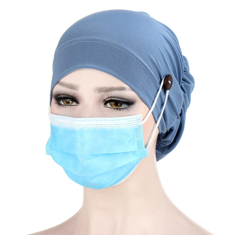Muslim turban caps for women Solid Color button linen Inner Hijab cap wrap head scarf hijabs bonnet ready to wear turbante mujer