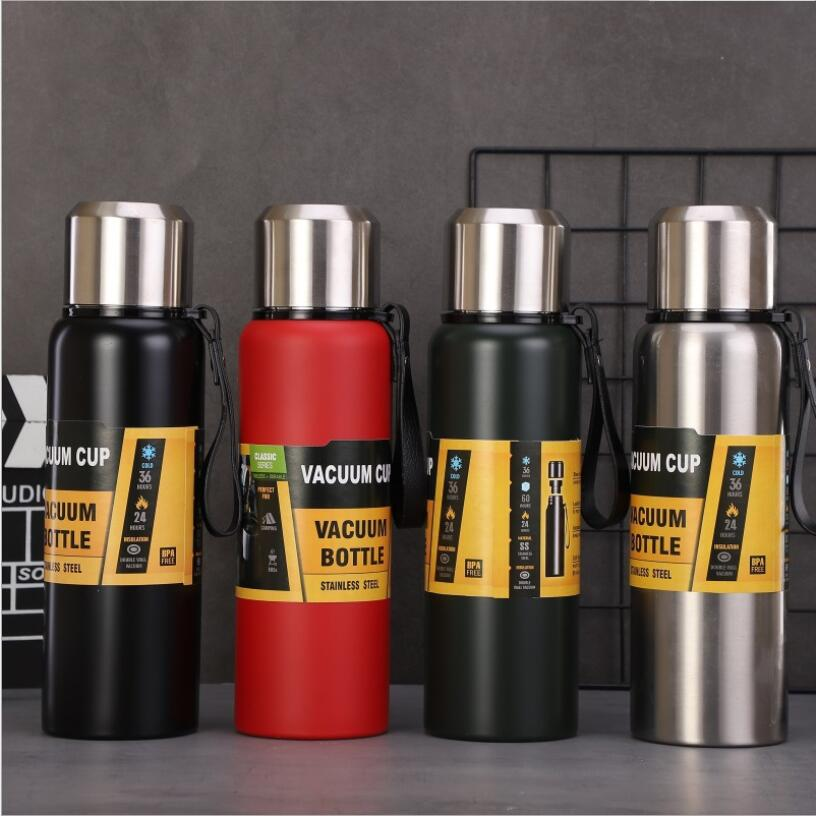 1000ml Capacity Stainless Steel Flask Thermos Cup Insulated Vacuum Hot Cold