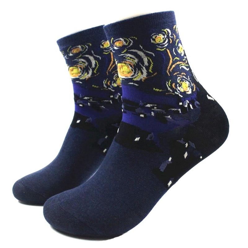Art Famous Oil Painting Modern Renaissance Van Gogh Mona Lisa Shout Cotton Socks