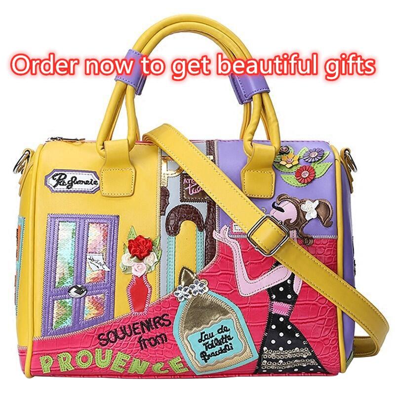 2020 new women/'s bag stitching contrast color bag embroidery luxury designer large capacity pillow bag diagonal cross handbag
