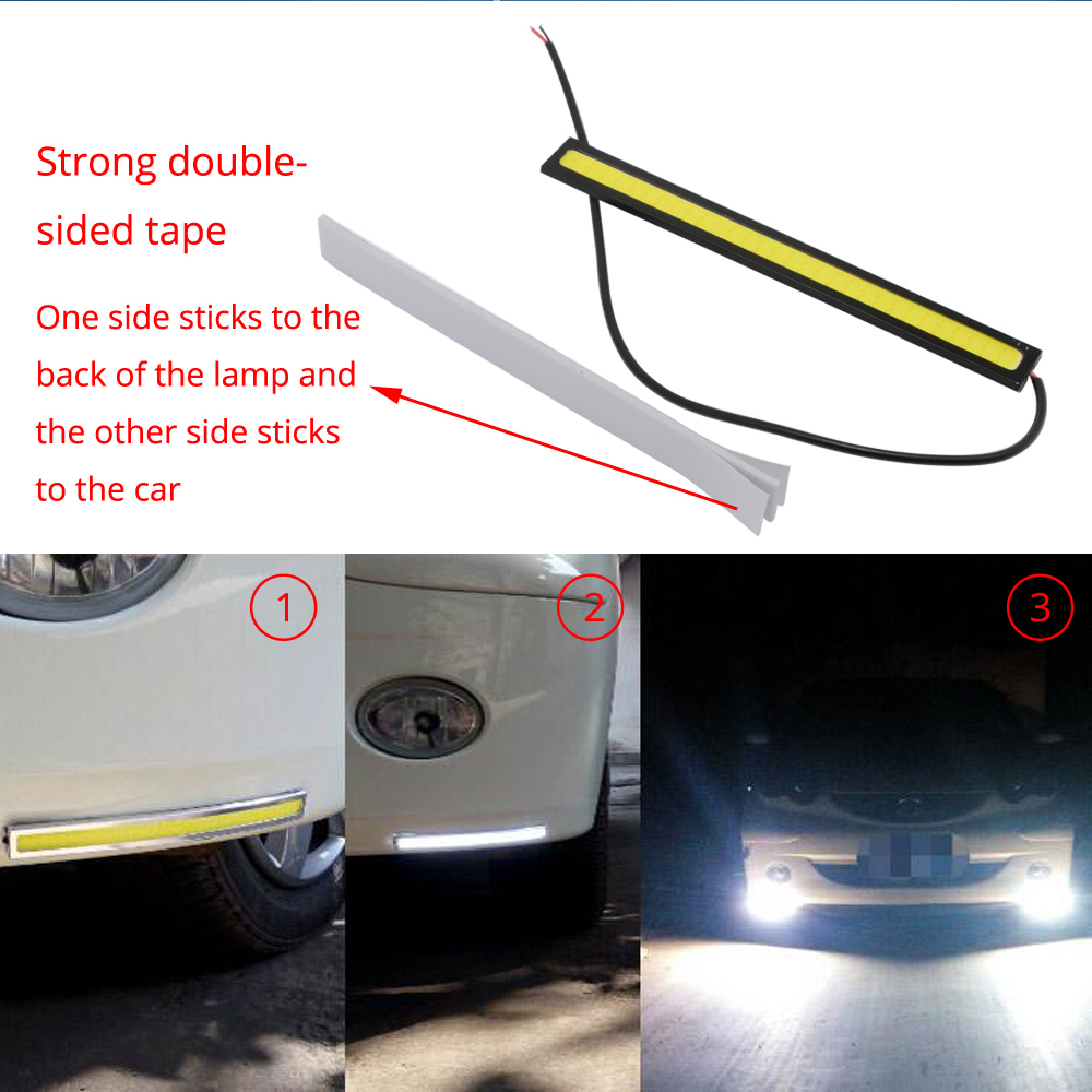 Hviero 1pcs White Blue 14cm Double Row 60Leds COB Car Led Auto DRL Driving Daytime Running Lamp Fog Light  DIY Ultra Bright Waterproof
