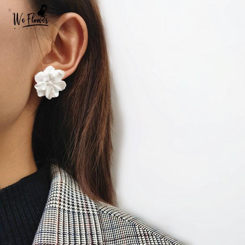 1Par Mujer Elegante Pendientes de botón flor cristal  Aretes joyería Earring