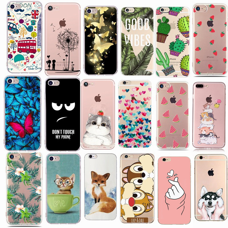 Capas Phone-Cover-Case Fundas Se Case iPhone 5s 6S Silicone 8-Plus Cute Minnie for Apple title=