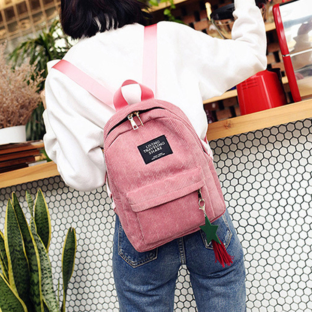 Fashion Corduroy Backpack Style Soft Fabric Female Pure Colour Student Bag School Vintage Women Striped Teenage Girls Travel 823