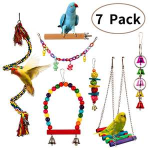 LUFFWELL Bird Chewing Toys 3 Pack Parrot Cage Foraging Hanging Shredder Toy Hammock Swing with Bells Bird Chew Toys for Parrots Parakeets Conure Cockatiels Cockatoo Lovebirds s