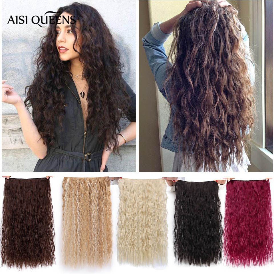AISI QUEENS Long Clips in Hair Extension Synthetic Natural Hair Water Wave Blonde Black Brown Red 22