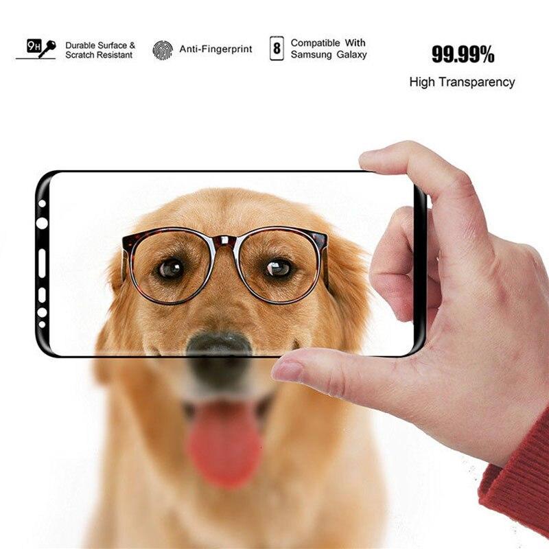 Curvo-de-Vidro-Temperado-Para-Samsung-Galaxy-S9-S8-6D-Completo-Mais-Nota-Protetor-de-Tela