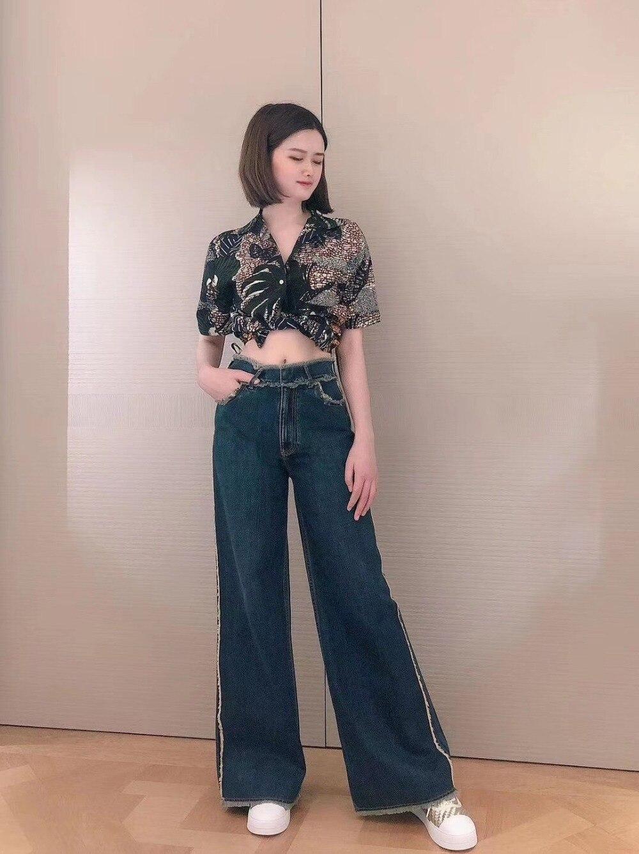 2020 wiosna nowych kobiet spodnie dżinsowe trouse kobiece proste dżinsy na co dzień ddxgz2 -