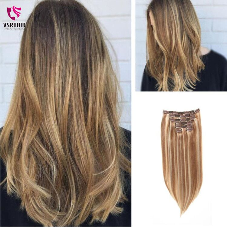 VSR 120g 150g Double Drawn Thick Machine Remy Hair Natural Clip Ins 7pcs/set 8pcs/set Remy Human Hair Clip In Hair Extension title=