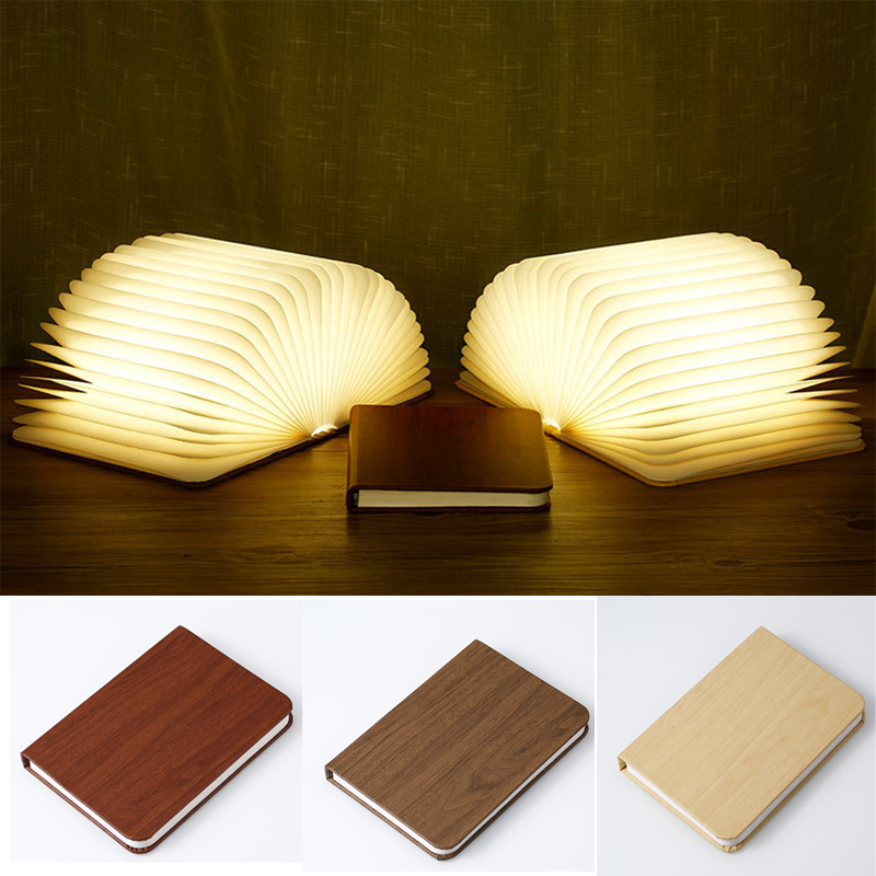 Wooden Book Lamp Portable USB Rechargeable LED Magnetic Colorful Foldable Night Light Desk Lamp Christmas Home Decoration