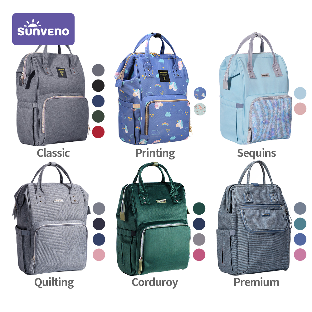 Sunveno Fashion Diaper Bag Backpack Baby Bags for Mom Designer Travel Bag Organizer Stroller Nappy Maternity Bag Baby Changing