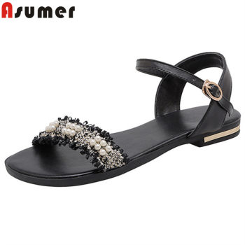 ASUMER 2020 newest big size 33-46 women sandals genuine leather shoes pearl buckle comfortable casual flat sandals woman