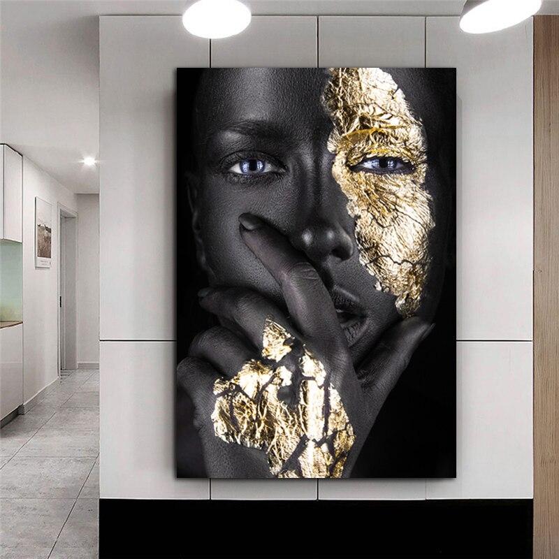 Африканская картина для женщин, черная и Золотая телесная картина для женщин, картина маслом, художественные плакаты и принты, декор для гостиной и дома