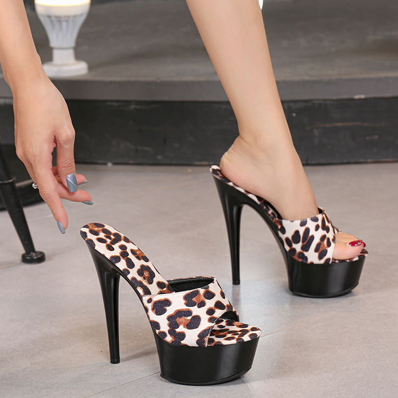 Leopard Print Woman Slippers Sandals Platform 2019 Nightclub Sexy High-heeled 15cm Shoes Slippers Heels Waterproof Thick Bottom