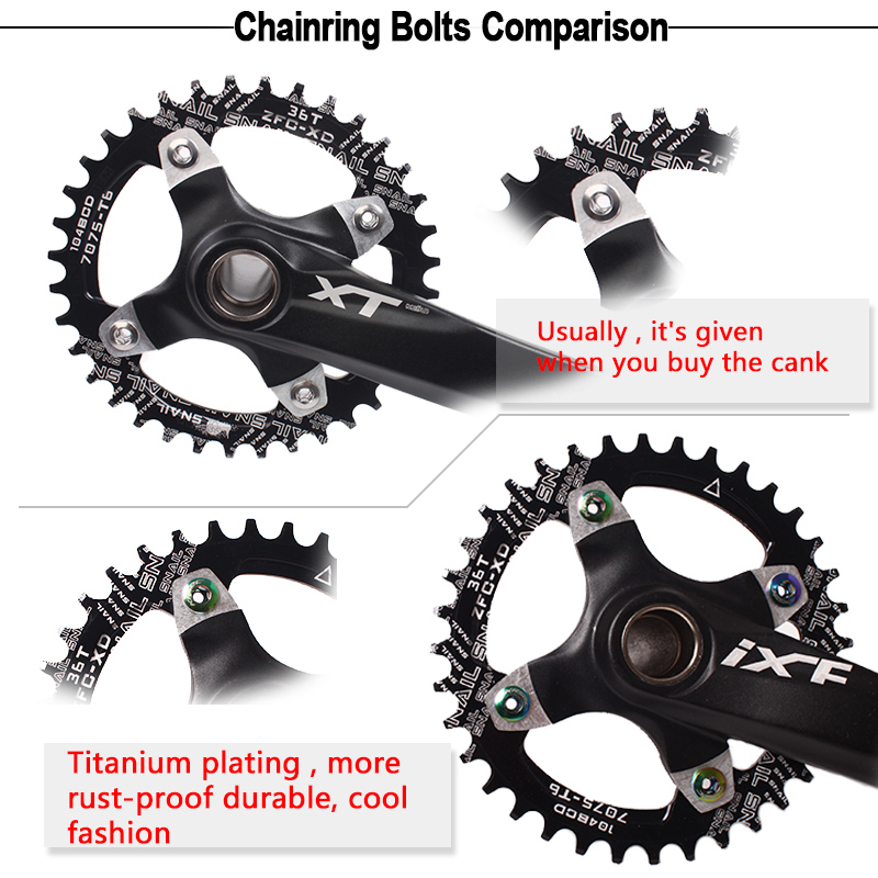 5 Pair Crankset Bolts Crank Bolts Bike Chainring Bolt Bicycle Crank Screw Nut VH