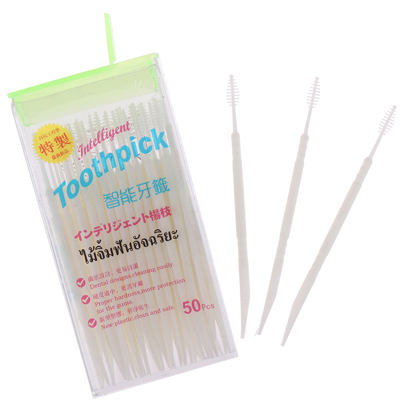 50PCS/Pack Portable Double Square Boxed Ultrafine Floss Pick Toothpick Plastic Plus Brush In Clear Case Eco-friendly Toothpick