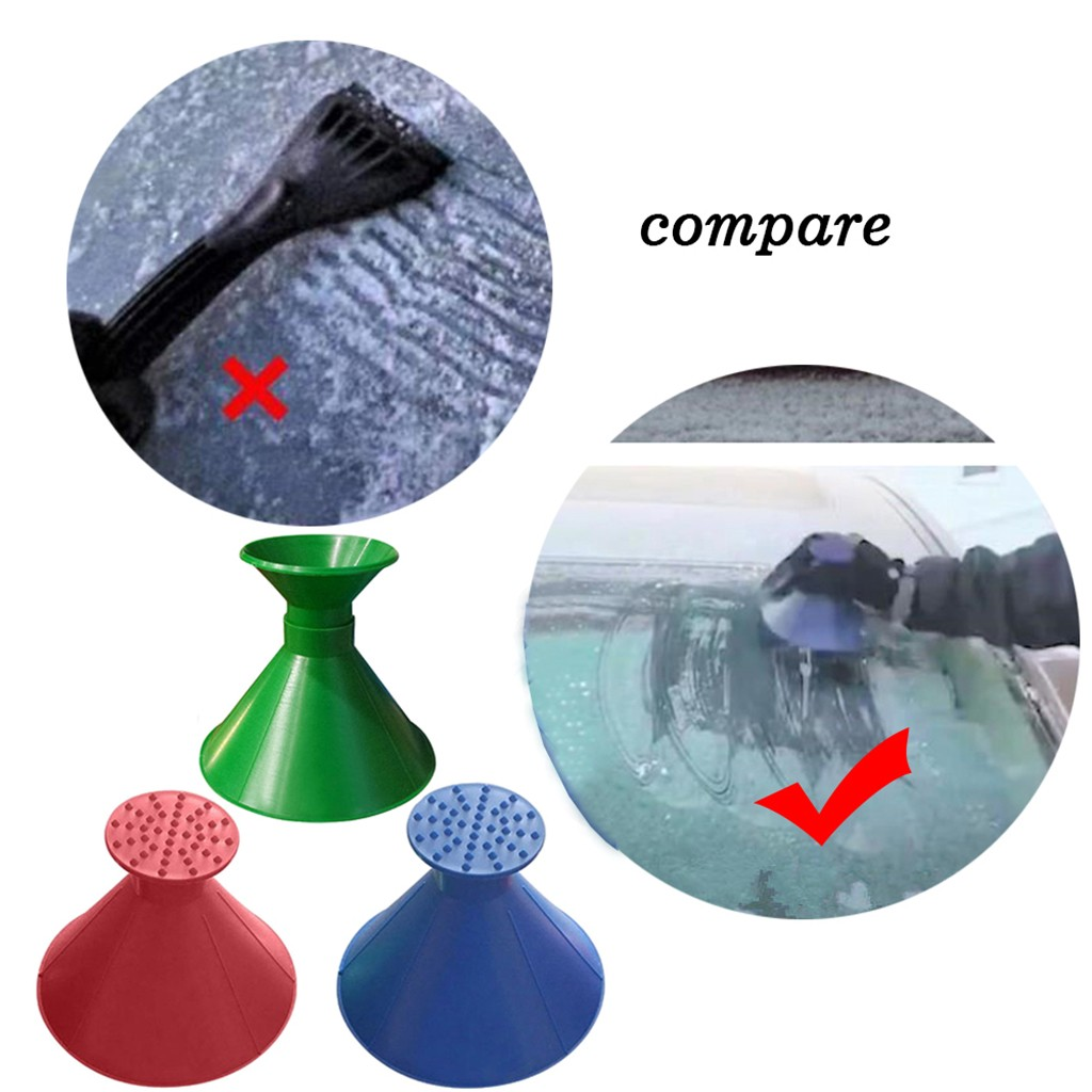 HIINST A Round Magic Cone-Shaped Windshield Ice Scraper Snow Shovel Tool Blue will not scratch the glass Funnel Ice Scraper 115