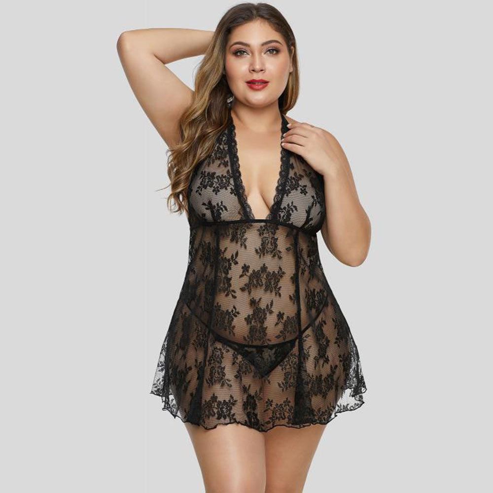 SEBOWEL Woman Sexy Perspective Open Back Floral Lace Plus Size Lingerie Set Lady Sheer Babydoll Halter Dress + Thong 2 Pcs Sets