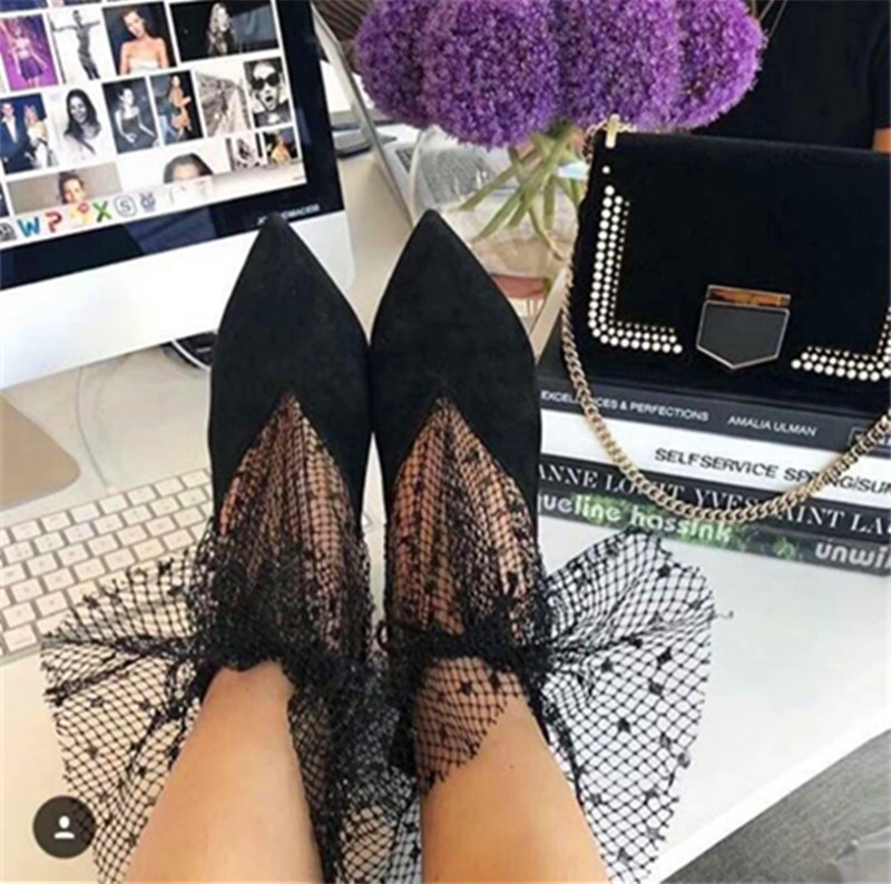 Spring Summer 2020 New Pumps Shoes Woman Sexy Pointed Toe V-Mouth Stilettos Mesh Hollow Skinny Lady Ankle Boot Fairy High Heels (3)