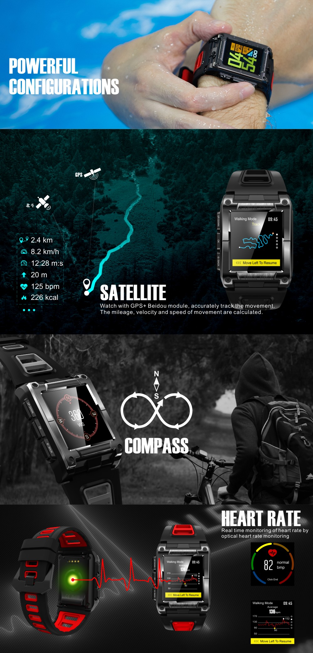S929 Smart Watch IP68 Waterproof GPS Watch Swimming Multi-sport Heart Rate Monitor Compass Pedometer Color Screen Smartwatches