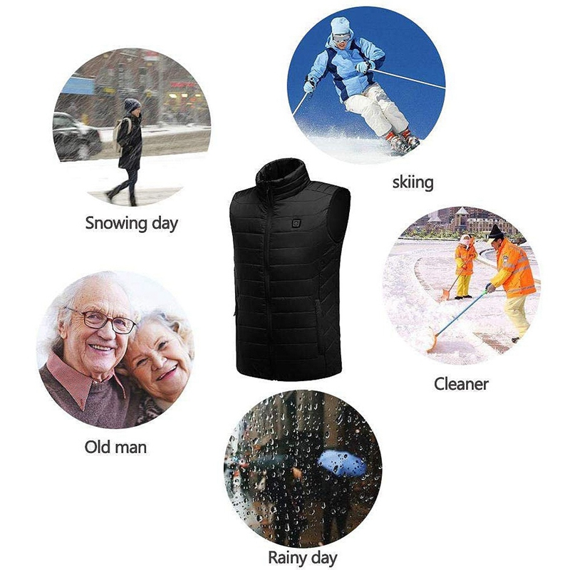 Electric Heated Vest for Men Women, 5V USB Rechargeable Washable Warm Gilet Coat Heating Vest for Winter Skiing Motorcycle Hikin