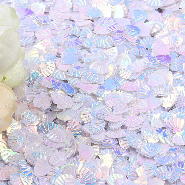 15g Iridescent Sparkle Shell Glitter Confetti 7MM Purple For Baby Shower Confetti Party Table Scatter Decor HW22