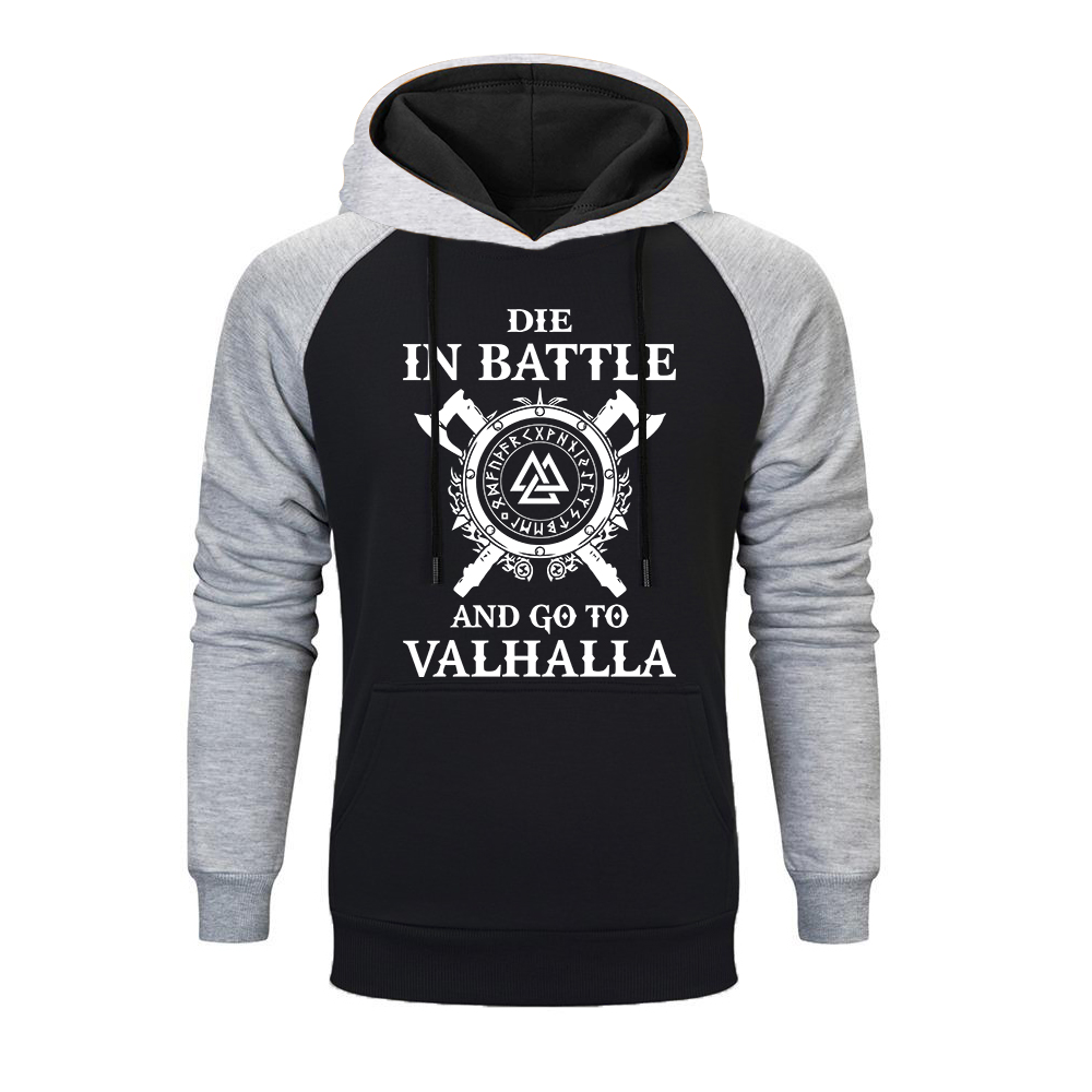 New Odi Vikings Hoodie Men Die In Battle And Go To Valhalla Raglan Hoodies Mens 2019 Brand Winter Autumn Hooded Sweatshirt