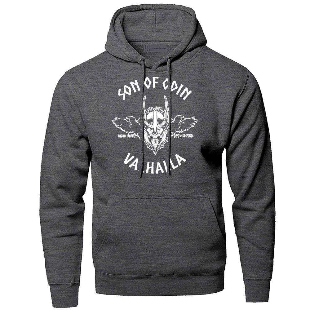 Hoodies Men Odin Vikings Sweatshirts Hoodies Gone to Valhalla Son Of Odin Hooded Sweatshirt Winter Autumn Fleece Warm Sportswear