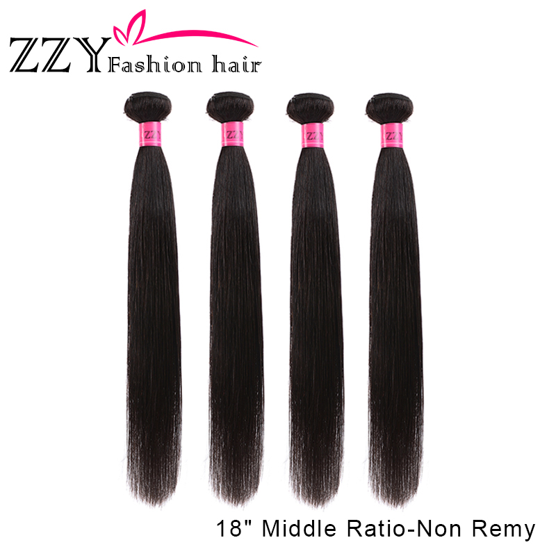 Hair-Bundles ZZY Fashion Straight Brazilian 8-26inch 4pieces Non-Remy title=