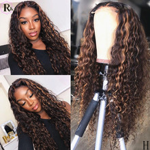 RULINDA Ombre Colored Curly Lace Front Human Hair Wigs Highlight Brazilian Remy Hair 360 Lace Frontal Wigs 250% Density(Китай)