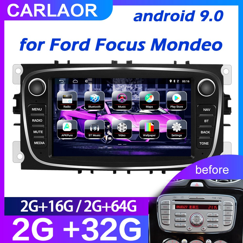 For Ford/Focus/S-Max/Mondeo 9/GalaxyC-Max Car Radio Multimedia Video Player Navigation GPS Android 9.0 NO DVD  2din 2 din 2.5D