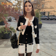 Two-Piece Suit Pencil-Skirt Female Clothing Women Set Long-Sleeve Knitted Party Top High-Waist