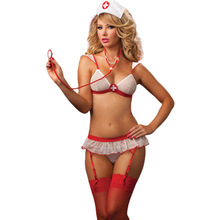 Sexy Skirt Dress-Set Fantasy Lingerie Erotic-Costumes Roleplay Nurse-Uniform