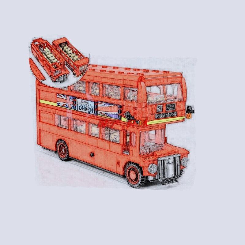 Legoing City Christmas Toy London Double Decker Bus Building Blocks Vehicle Compatible Legoing Technic Car Model Child Toys Gift