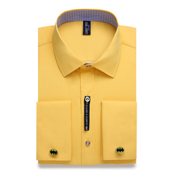 Ali Мужская s & Gentle Мужская рубашка с французскими манжетами мужская однотонная полосатая стильная запонка с длинным рукавом включает в себя ...