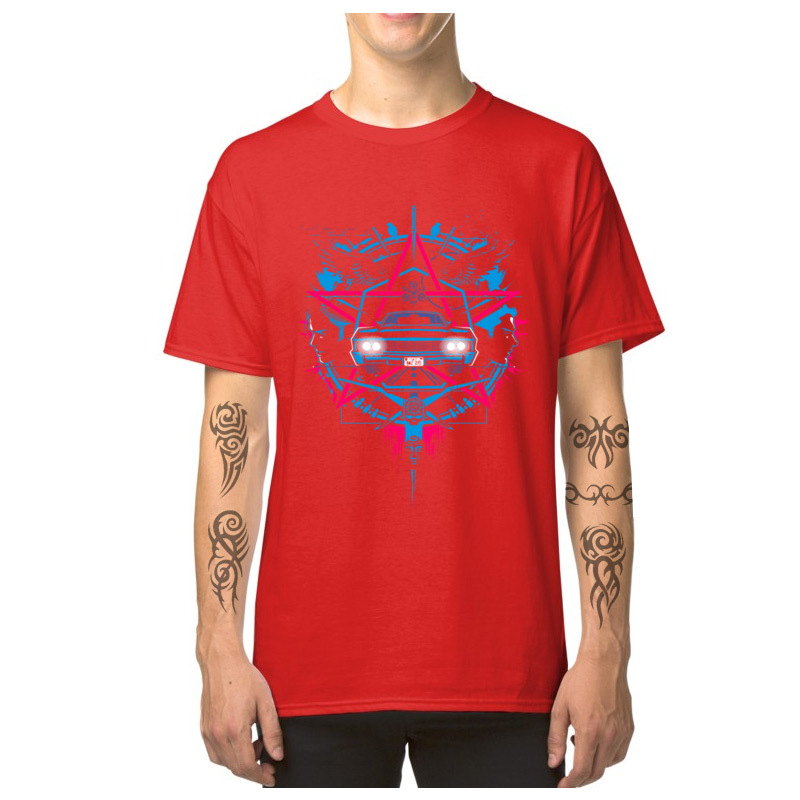 Car_Logo_-_Supernatural_3493 Casual T-Shirt for Male 100% Cotton Summer Fall Tops Shirts Tops Shirts 2018 Newest Round Neck Car_Logo_-_Supernatural_3493 red