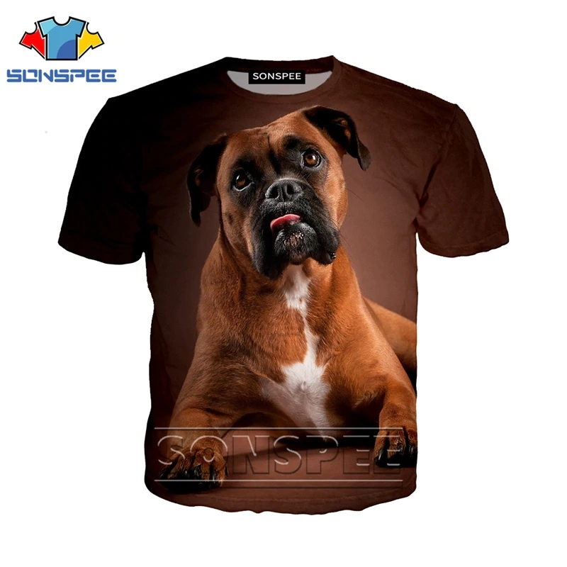 SONSPEE 3D Printed T shirt Men Women Homme Boxer Dog Fashion T-shirt Harajuku Short Sleeve Tees Funny Shirts Homme Tshirt XK130b