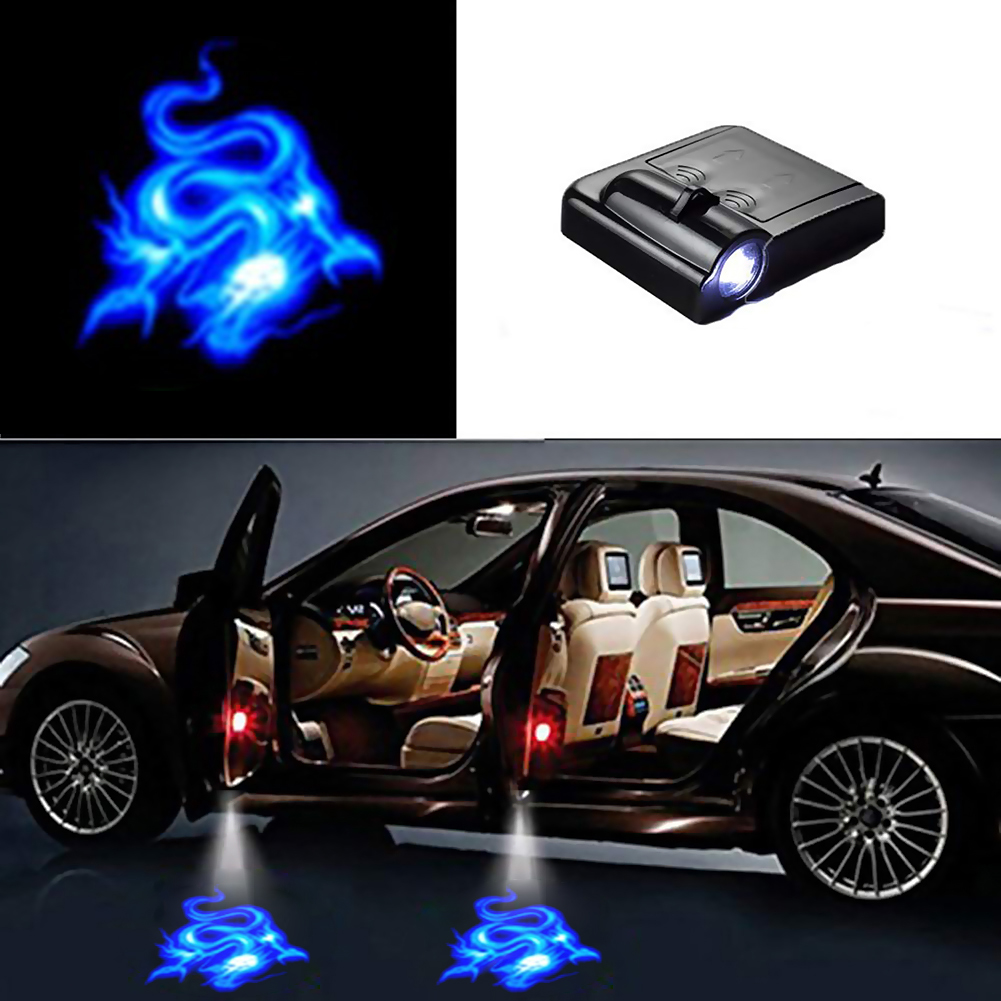 2Pcs For Mustang LOGO WIRELESS LED Car Door Step Courtesy Shadow Laser Lights