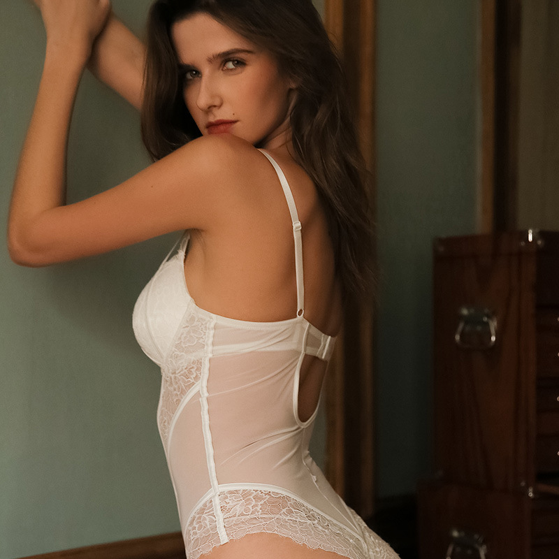Sexy Mesh Transparent Bustiers Corsets With Lace Bandage Bra Push Up Underwear Lace Teddy Bodysuit with Padded Women Lingerie