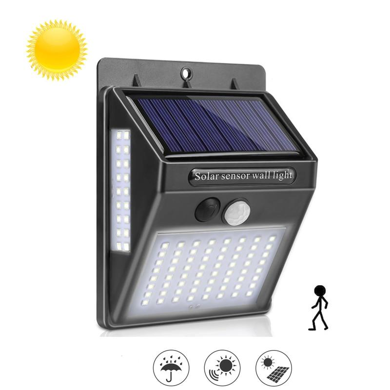 100LED Solar Light PIR Motion Sensor Wall Light Waterproof Sunlight Control Solar Street Light for Garden Yard Path Decoration