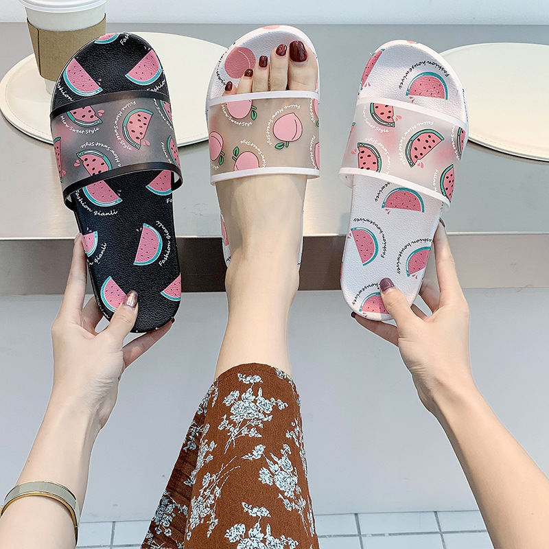 Fashion Fruit Print Women Slippers Summer House Slippers Peach Banana Strawberry Watermelon Pattern Cartoon Sandals Womens Shoes