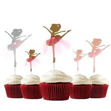 Cupcake Toppers Cake-Picks Wedding-Party-Decoration Ballerina Glitter Gold Dancing-Girl