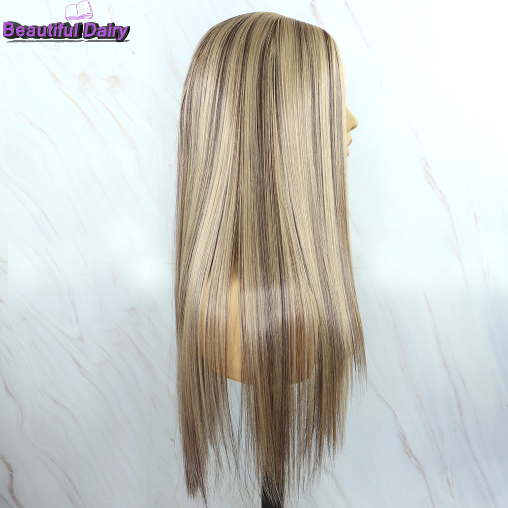 Beautiful Diary Futura Hair Heat Reistant Synthetic Hair Wigs For Black Women Silky Straight Gluesless Ombre Blonde Hair Wigs